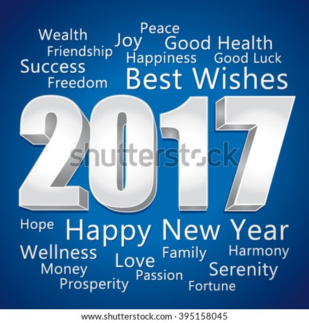 2017 Happy New Year. Best wishes. Blue and silver vector greeting card.  - stock vector