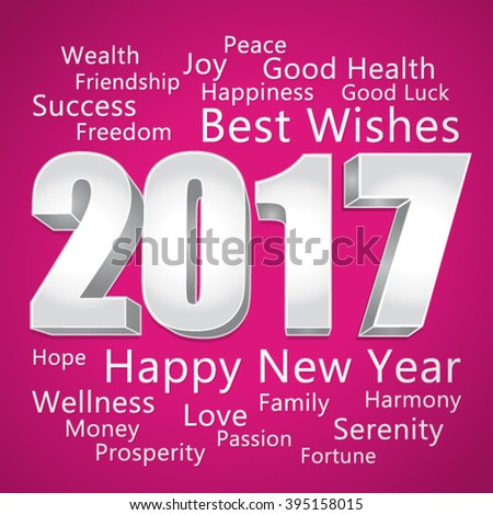 2017 Happy New Year. Best wishes. PInk and silver vector greeting card.  - stock vector