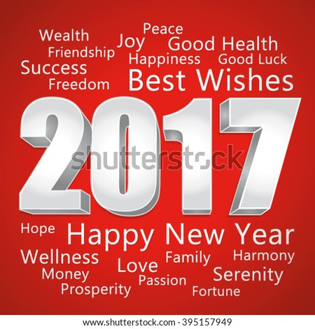 2017 Happy New Year. Best wishes. Red and silver vector greeting card.  - stock vector