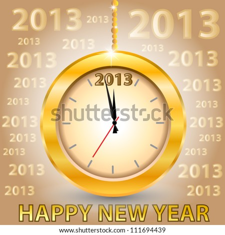 2013 Happy New Year card. Countdown clock. Merry Christmas and Happy New Year. Vector illustration - stock vector
