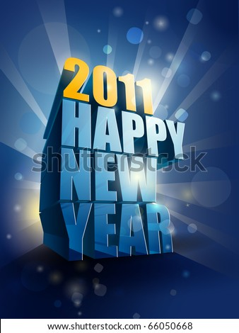 2011 Happy New Year card illustration | editable EPS 10 vector - stock vector