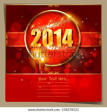 2014 Happy New Year  card or background with  snowflakes, stars and candles.  Vector art.
