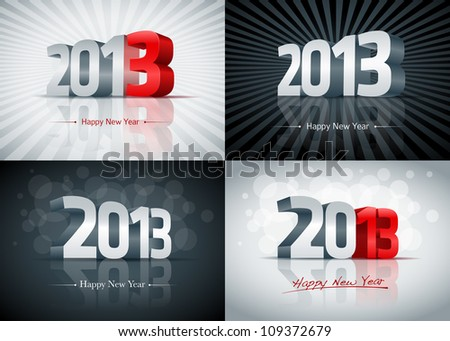 2013 Happy New Year card set. All elements are layered separately. Easy editable. - stock vector