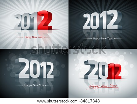 2012 Happy New Year card set. All elements are layered separately. Easy editable. - stock vector