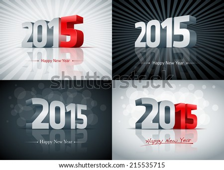 2015 Happy New Year card set. Elements are layered separately. Easy editable.