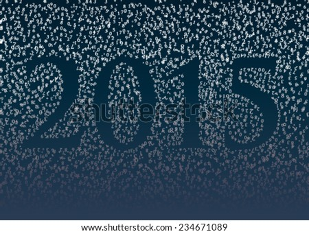 2015 / Happy new year card with numbers falling like snow - stock vector