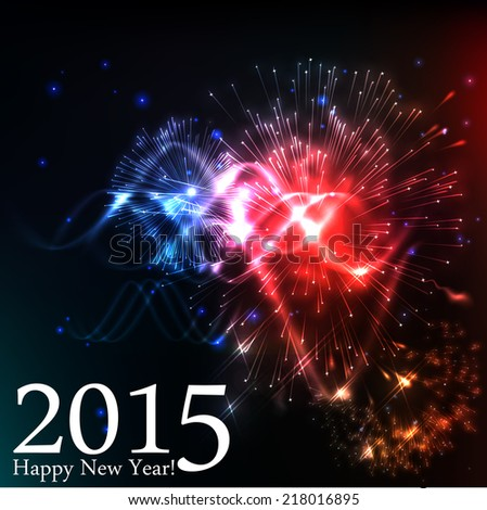 2015 happy new year celebration background for your posters. Brightly Colorful Vector Fireworks and Salute- vector isolated on black background - stock vector