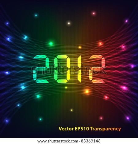 2012 Happy new year celebration background with neon lights style 2012 text. Glowing lights on dark background. Raster also available.