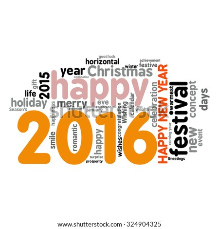 """Happy New Year 2016"". Cloud of words"