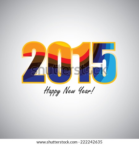 2015 happy new year colorful, abstract colorful lines vector. - stock vector