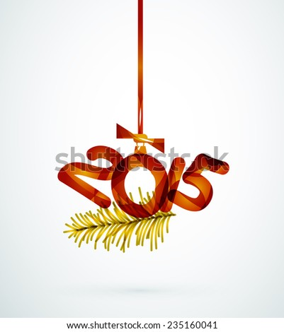 2015 Happy New Year Concept, Festive Christmas Holiday Icon