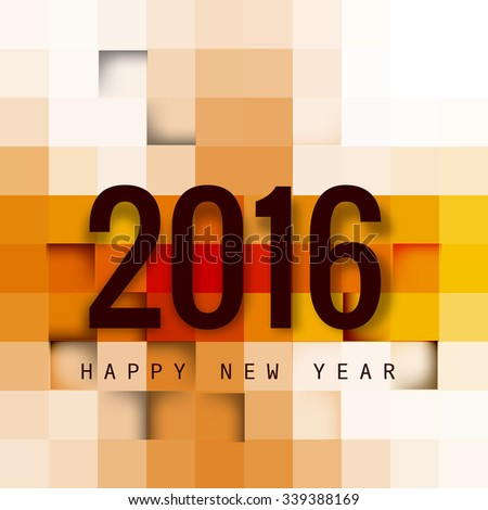 2016 Happy New Year Creative Greeting Card Colorful vector - stock vector