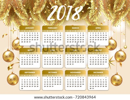 2018 Happy New Year Design Wallpaper With Calendar Planner Gold And Pink Color Christmas