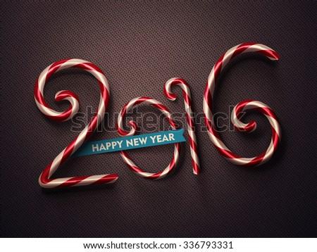 2016, Happy New Year, eps 10 - stock vector