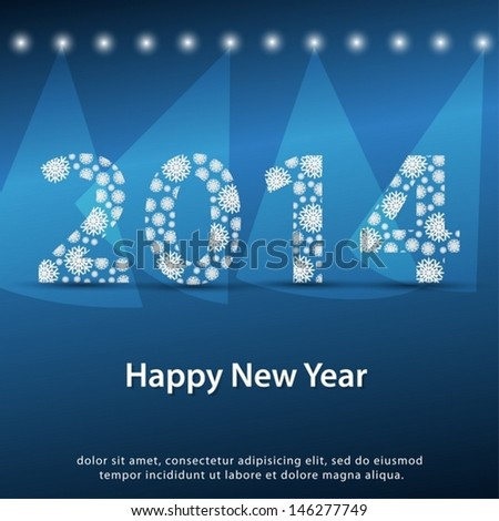 2014 Happy New Year greeting card.  Background vector EPS 10. - stock vector
