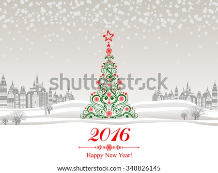 2016 Happy New Year greeting card. Celebration background with Christmas Landscape, Christmas tree and place for your text. Vector Illustration - stock vector