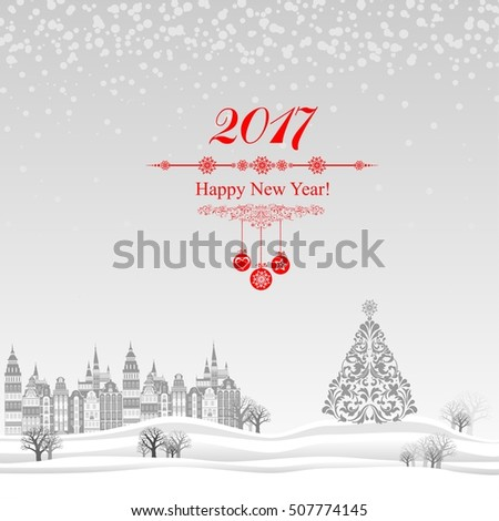 2017 Happy New Year greeting card. Celebration background with Christmas Landscape. Vector Illustration