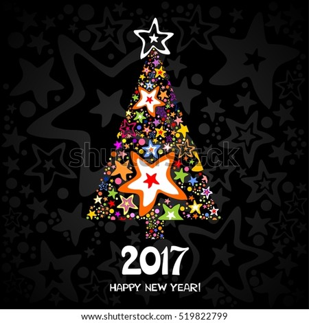 2017 Happy New Year greeting card. Celebration black background with Christmas tree and place for your text. Christmas tree. Vector Illustration