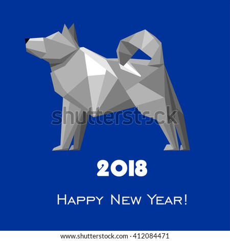 2018 Happy New Year greeting card. Celebration blue background with dog and place for your text. 2018 Chinese New Year of the dog. Vector Illustration