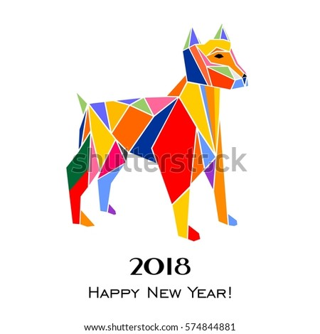 2018 Happy New Year greeting card. Celebration white background with dog and place for your text. Vector Illustration