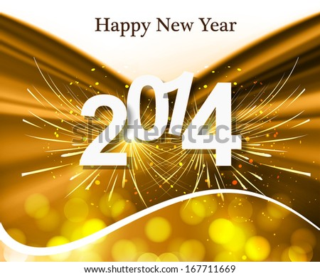 2014 Happy New Year greeting card colorful creative background vector - stock vector