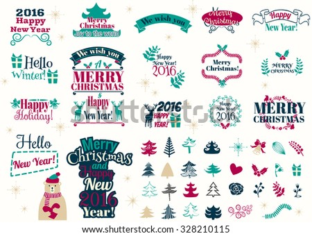 2016 Happy New Year greeting card isolated on black background. Celebration background with Christmas tree, gift boxes and place for your text. Vector Illustration - stock vector