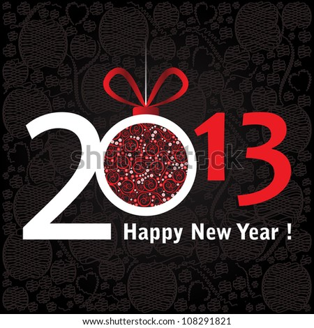 2013 Happy New Year greeting card or background. - stock vector