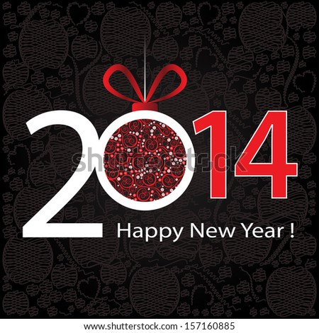 2014 Happy New Year greeting card or background. - stock vector