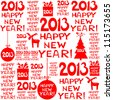 2013 Happy New Year greeting card or background.  seamless wallpaper. Vector illustration - stock vector