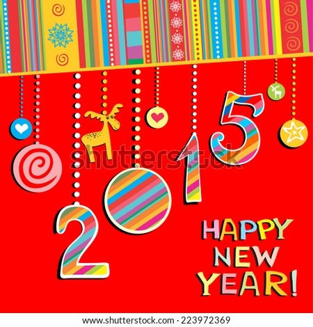 2015 Happy New Year greeting card or background. Vector illustration  - stock vector
