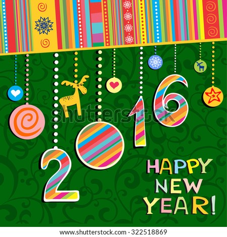 2016 Happy New Year greeting card or background. Vector illustration