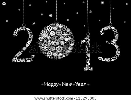 2013 Happy New Year greeting card. Vector - stock vector