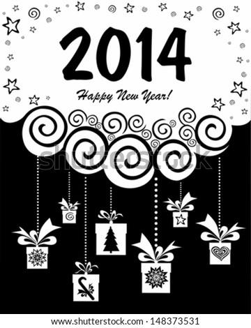 2014 Happy New Year greeting card. Vector Illustration  - stock vector