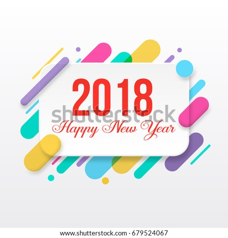 2018 happy new year greeting card stock vector royalty free 2018 happy new year greeting card with abstract colored rounded shapes lines in diagonal rhythm m4hsunfo