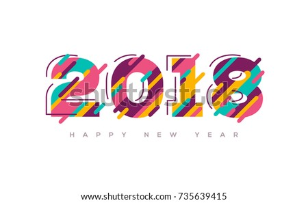 2018 Happy New Year greeting card with abstract colorful numbers. Vector illustration.  Brochure design template, business diary cover, 2018 wishes