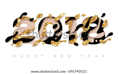 2018 Happy New Year greeting card with abstract gold and black shapes on white background. Vector illustration. Colorful 3D paper cut art. Glowing New Year or Christmas Backdrop
