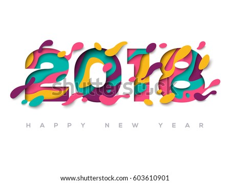 2018 happy new year greeting card 603610901 2018 happy new year greeting card with abstract paper cut shapes on white background vector voltagebd Images