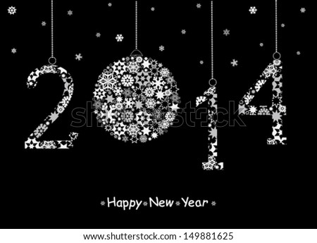 Happy New Year greeting card. 2014 year. Vector - stock vector