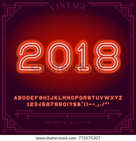 2018 Happy New Year Holiday Bright Neon Alphabet Letters Numbers And Symbols Sign In
