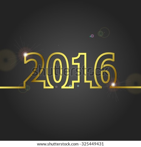 2016 Happy New Year on grey background, stock vector