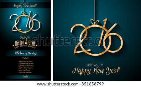 2016 Happy New Year Restaurant Menu Template Background for Seasonal Dinner Event, Parties Flyer, Lunch Event Invitations, Xmas Cards and so on. - stock vector