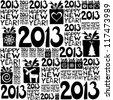 2013 Happy New Year! Seamless pattern. vector illustration - stock vector