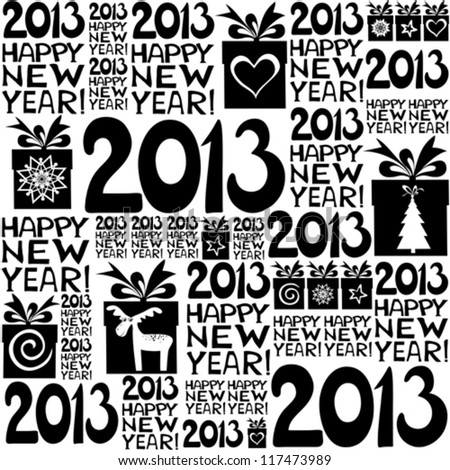 2013 Happy New Year! Seamless pattern. vector illustration - stock vector
