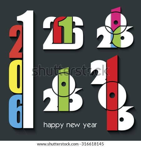 2016 Happy New Year set of creative numbers combination  for your greetings card, flyers, invitation, posters, brochure, banners, calendar - stock vector