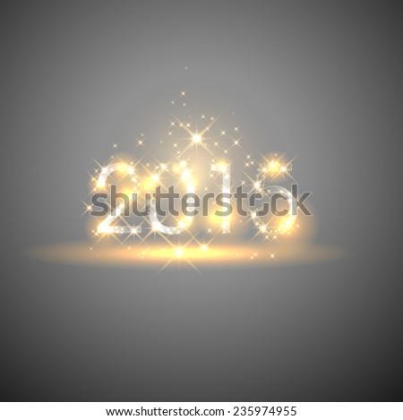 2015 happy new year shiny lights - stock vector