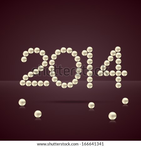 2014 happy new year text made with pearls