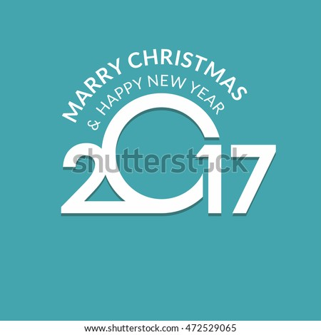 2017 Happy New year typography. Seasons greetings. merry christmas and happy new year turquoise background. vector illustration