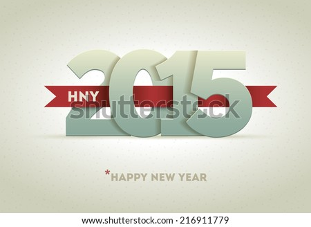 2015 Happy New Year. Vector greeting card design element. - stock vector