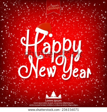 Happy New Year vector illustration for holiday design, party poster, greeting card, banner or invitation. - stock vector