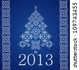 2013 Happy New Year, White Christmas Tree and Borders of SnowFlakes on Blue Background, Isolated Vector Clip-Art Illustration - stock vector